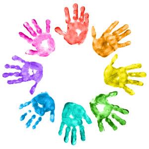 circle of kid handprints